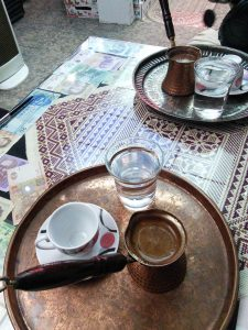 In a cafee shop on the Via Dolorosa