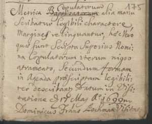 Visitatator's note 17 May 1699