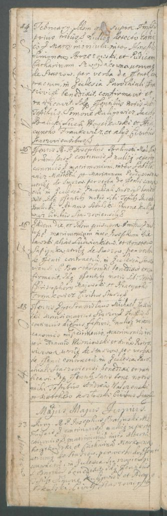 A page with a note about the marriage between Szymon Brzezowski and Katarzyna Szwaydakówna, Staszów, 14th February 1719
