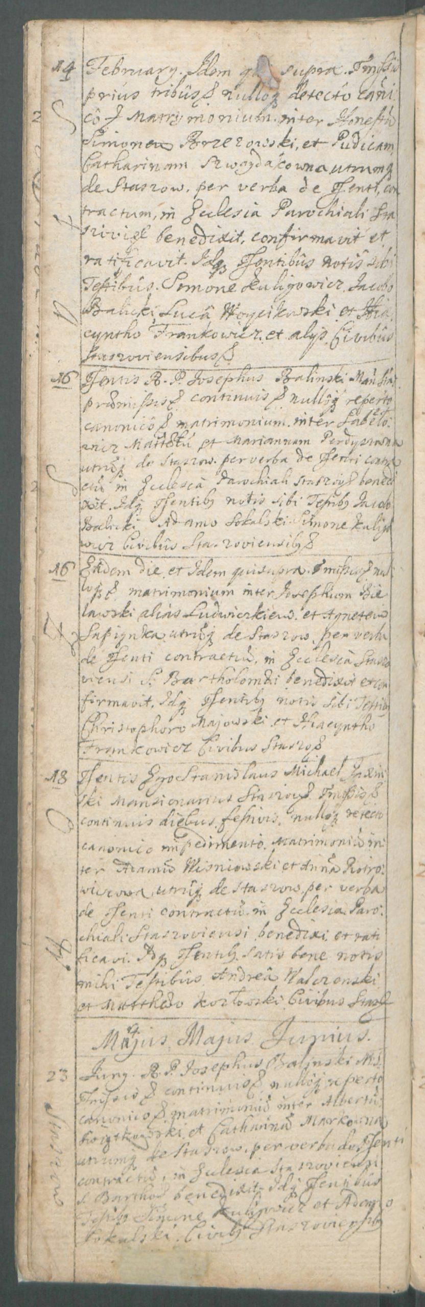 A page with a note about the marriage between Szymon Brzezowski and Katarzyna Szwaydakówna, Staszów, 14th February 1719