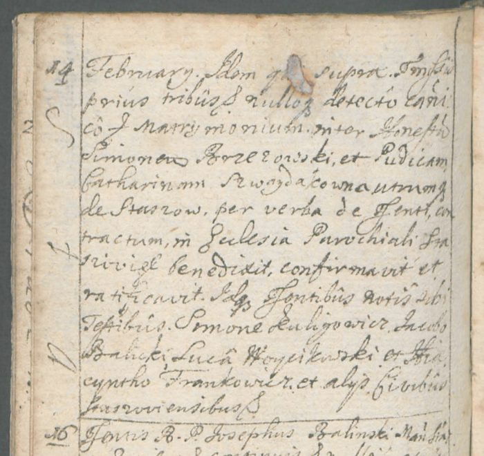 Marriage between Szymon Brzezowski and Katarzyna Szwaydakówna, 14th February 1719