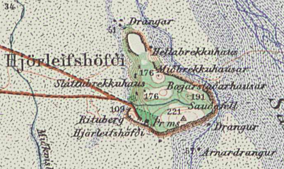 Hjörleifshöfði on the 1936 topographic map 1:100 000