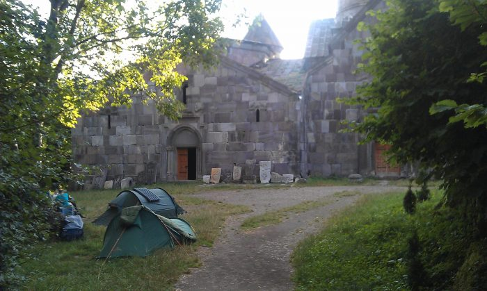 Staying for the night at the entrance of the Makaravank Monastery, Tavush province, Armenia