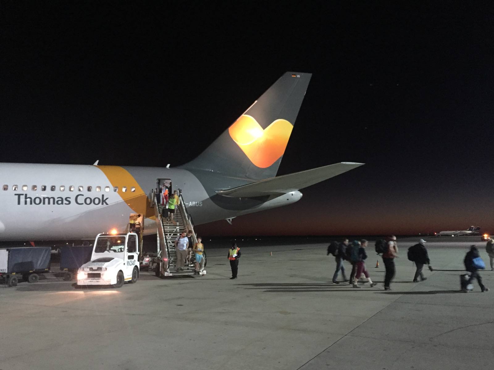 A Condor airplane at Windhoek airport, just before the dawn